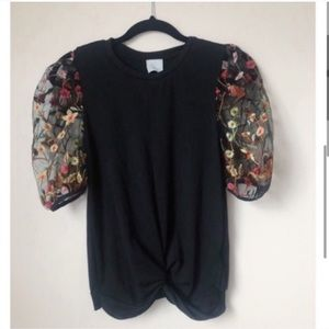PAPEROC Black Puffy Sleeve Embroidered Top NWOT